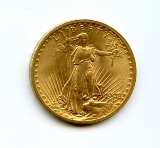 1908 $20 No Motto