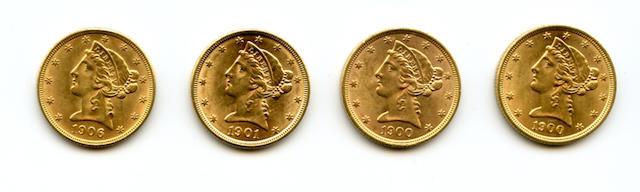 Liberty Head Half Eagles, Including 1900 (2), 1901, 1906-D $5.