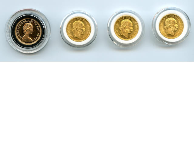 Austria, 1915 Restrike 1 Ducats (3) Together with England, 1979 Proof Sovereign.