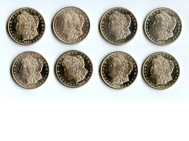 San Francisco Mint Morgan Dollars 1878-S (2), 1879-S, 1880/79-S, 1880-S (2), 1881-S, 1882-S S$1.