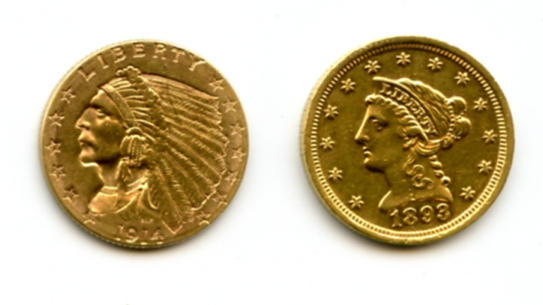 1893 $2.5 and 1914-D $2.5