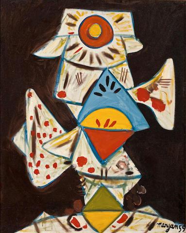 """Pinchas """"Maryan"""" Burstein (Israeli, 1927-1977) Abstract portrait"""