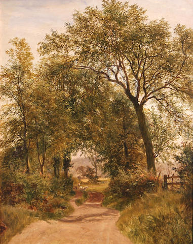 Attributed to David Bates (British, 1840-1921) A country lane 15 1/2 x 13in