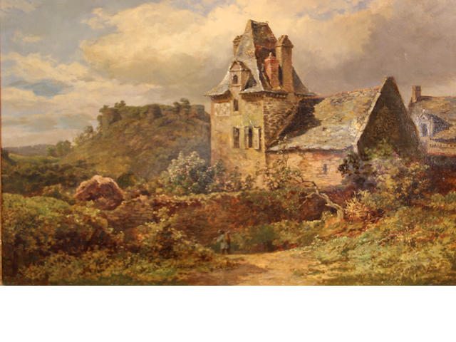 Attributed to Samuel Henry Baker (British, 1824-1909) A country village 16 x 25 1/4in