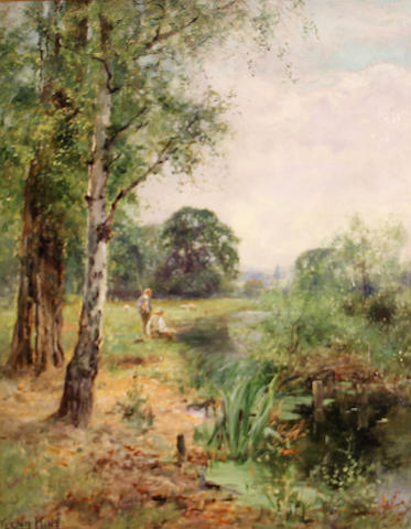 Henry John Yeend King (British, 1855-1924) A view of a quiet stream with boys fishing 20 x 16 1/4in