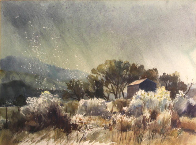 George Gibson, Stormy meadow, wc/paper