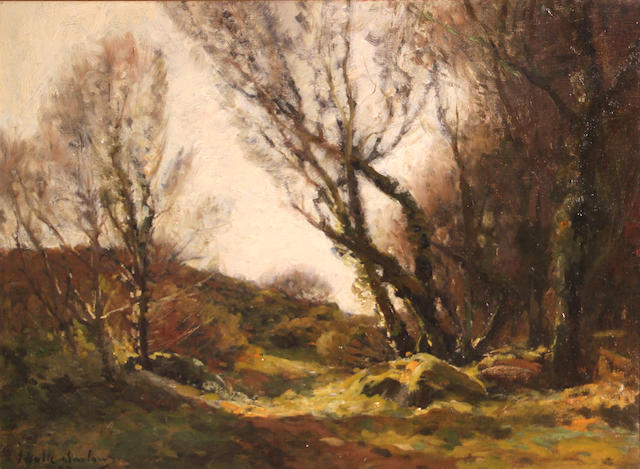 John Noble Barlow (British, 1861-1917) A wooded landscape 18 x 24in