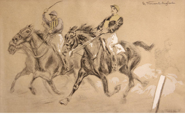 HENRI VINCENT-ANGLADE, HORSEMEN (2), EACH SIGNED, CHARCOAL HIGHLIGHTED WITH WHITE.