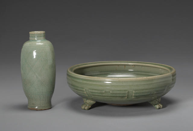Two Longquan celadon glazed containers Ming Dynasty