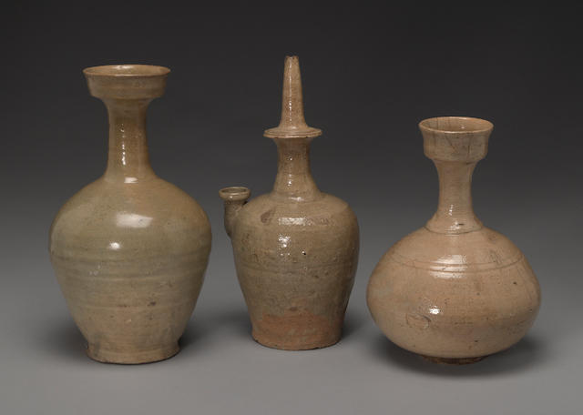 A group of three celadon glazed ceramic containers Goryeo and Joseon periods