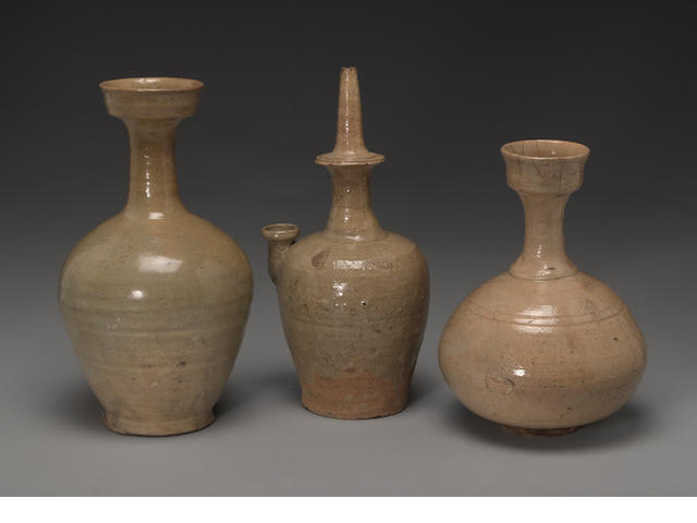 Three celadon glazed ceramic containers Goryeo and Joseon periods