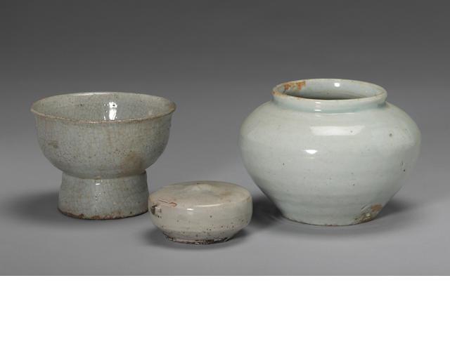 A group of three monochrome glazed Korean ceramics Late Joseon dynasty