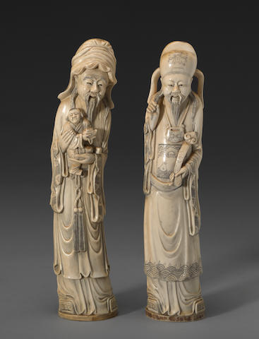 Two carved and tinted ivory figures 20th century