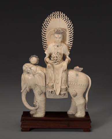 A pieced ivory figure of a Buddhist deity ...2020th Century