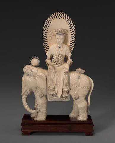 A pieced ivory figure of a Buddhist deity ...2020th Century