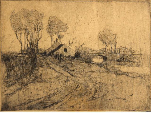 Armin Hansen (American, 1886-1957); Flemish Landscape;