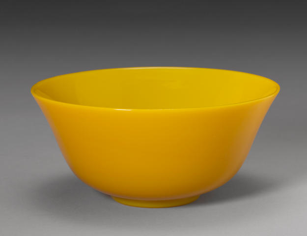 A yellow glass bowl 19th century