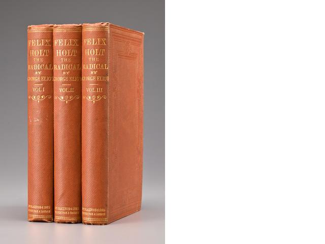 ELIOT, GEORGE. 1819-1880. Felix Holt The Radical. Edinburgh and London: William Blackwood and Sons, 1866.