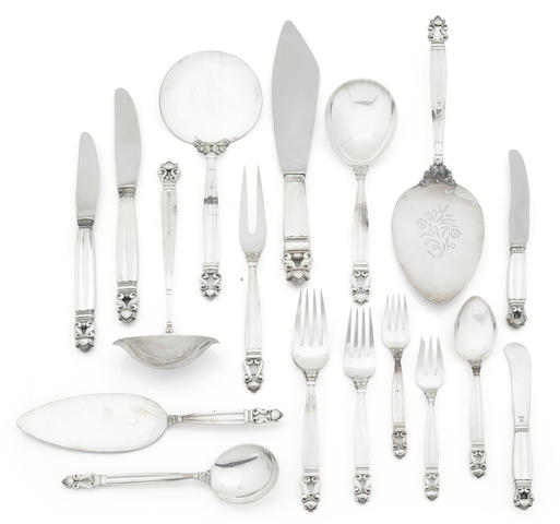 A Georg Jensen service of acorn pattern flatware, approximately 130 pieces