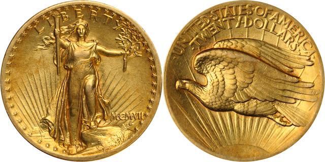 MCMVII (1907) High Relief $20, Flat Rim