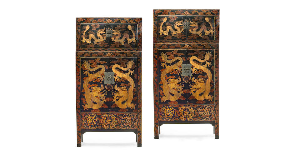 A pair of Chinese Export black lacquer wood cabinets