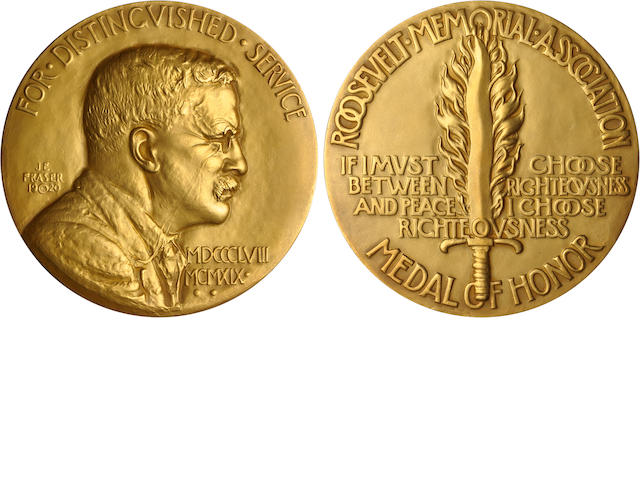Gold Roosevelt Memorial Association Medal of Honor Presented to Owen Wister - Case of Issue