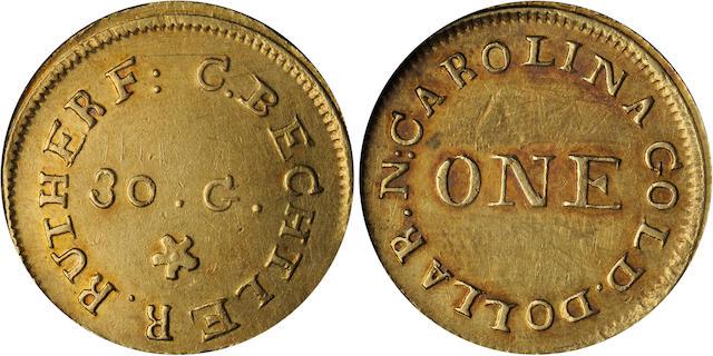 Undated (1831-1834) C. Bechtler $1 Gold 30 Grains
