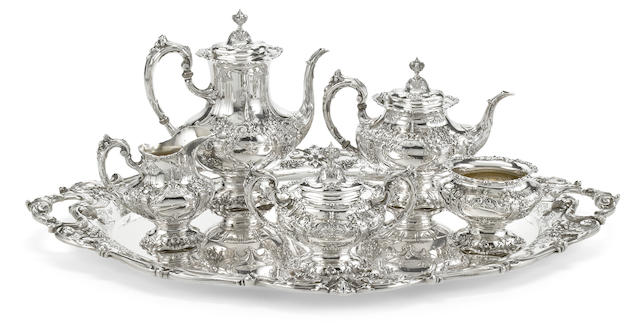 A Reed & Barton 'Francis I' sterling silver tea and coffee service with tray