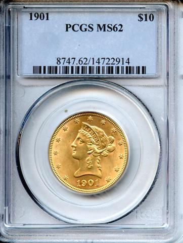 1901 $10MS62 PCGS