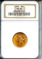 1900 $5 MS65 NGC