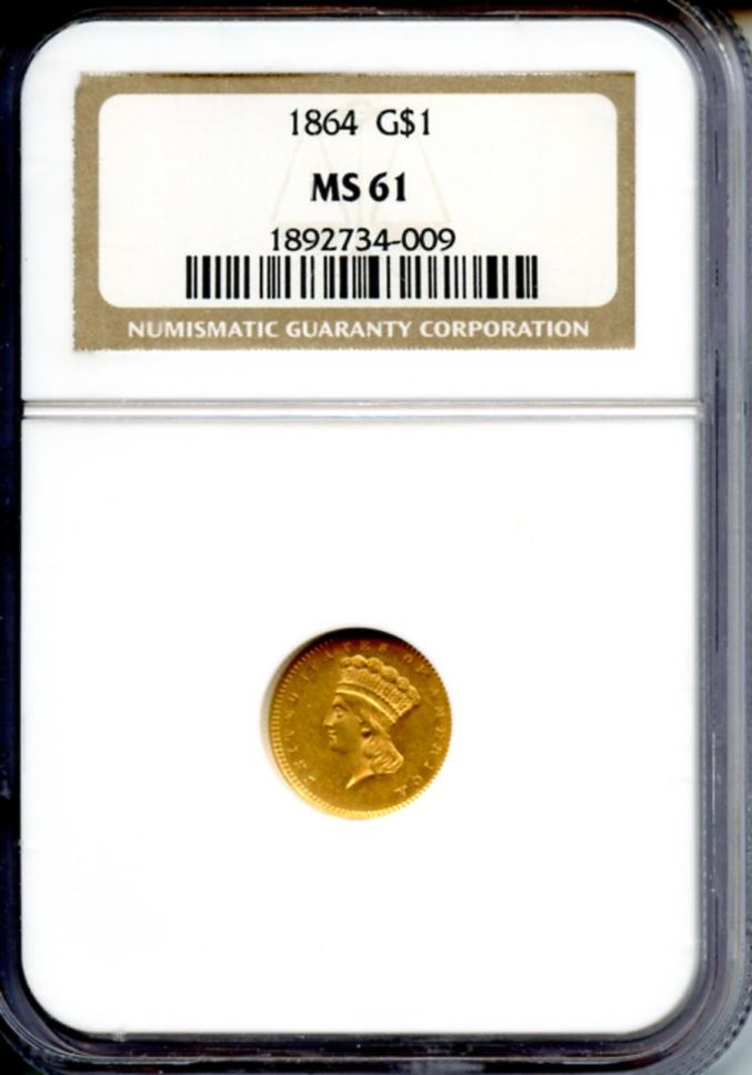 1864 G$1MS61 NGC