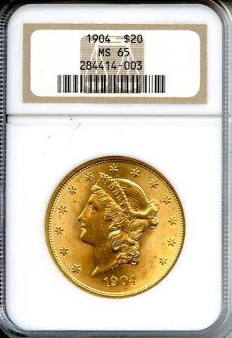 1904 $20MS65 NGC