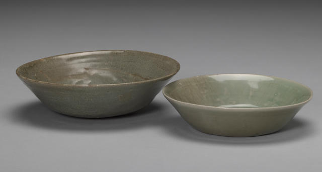 Two celadon glazed stoneware shallow bowls Goryeo period