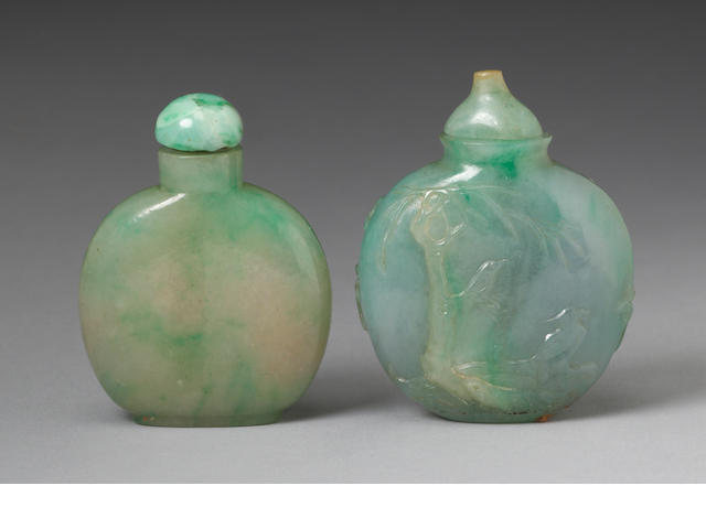 Two apple green jadeite snuff bottles mid to late 19th century