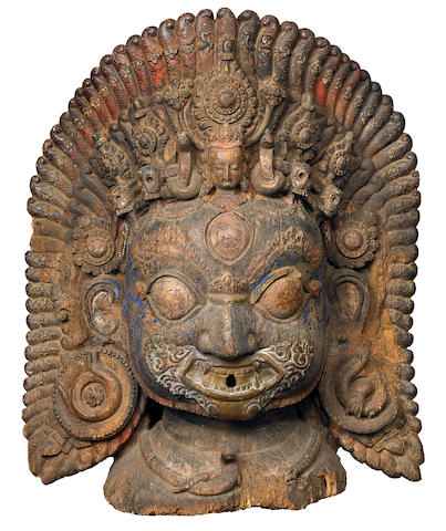 A wood Bhairava mask Nepal, 16th/17th century
