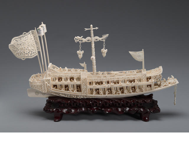 A large pieced ivory model of a pleasure boat 20th century
