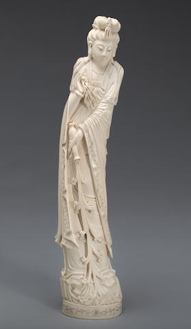 A tinted ivory figure of Guanyin 20th century