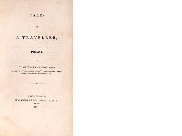 [IRVING, WASHINGTON.] 1783-1859. Tales of a Traveller, by Geoffrey Crayon, Gent. Philadelphia: H.C. Carey & I. Lea, 1824.<BR>