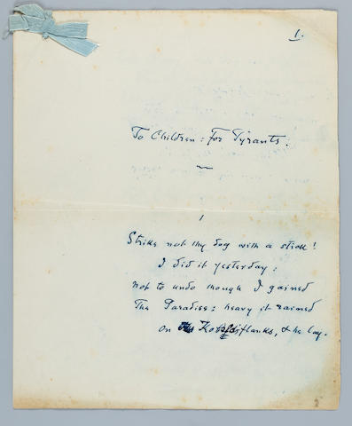 "MEREDITH, GEORGE. 1828-1909. Autograph Manuscript, titled  ""To Children: For Tyrants,"""