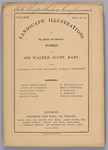 [SCOTT, SIR WALTER. 1771-1832.] Landscape Illustrations of the Prose and Poetical Works of Sir Walter Scott, Bart. with Portraits of the Principal Female Characters. London: Chapman and Hall, 1832-33.