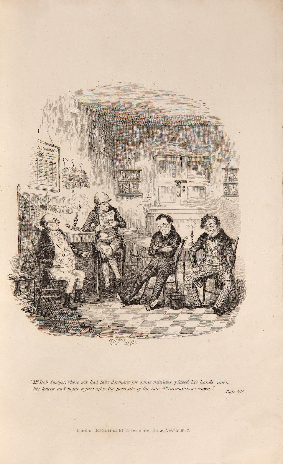 [DICKENS, CHARLES.] [ONWHYN, THOMAS]. Illustrations to the Pickwick Club by Sam Weller. London: E. Grattan, 1837.