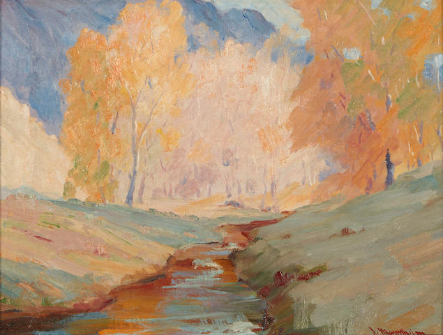Jean Mannheim (American, 1863-1945) Landscape with creek 12 x 15 1/2in