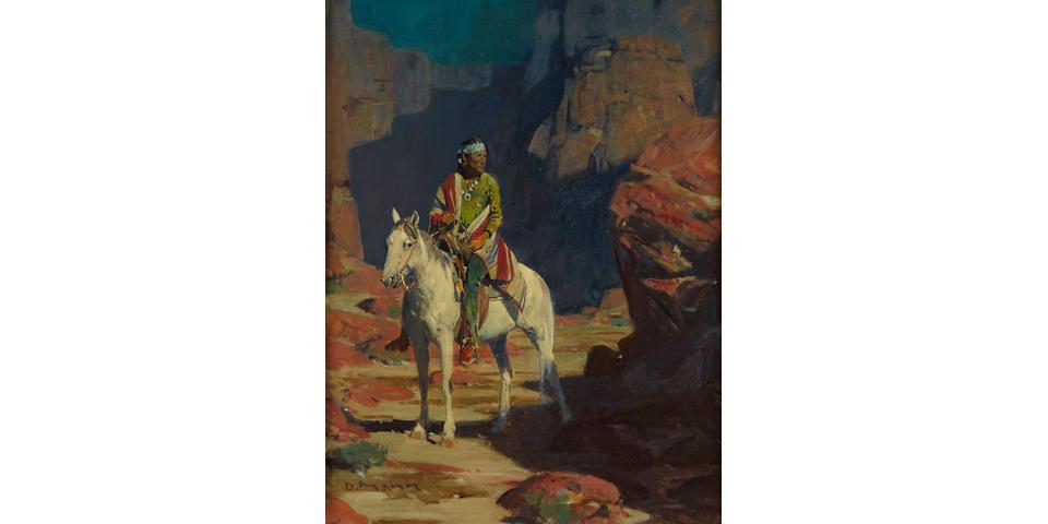 David Mann (American, born 1948) Indian on horseback in a canyon 13 1/2 x 10 1/2in