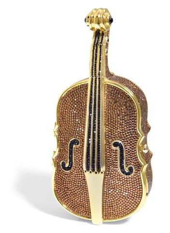 A brown crystal violin minaudiere,