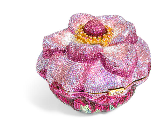 A pink floral bud purse, accompanied with a pouch