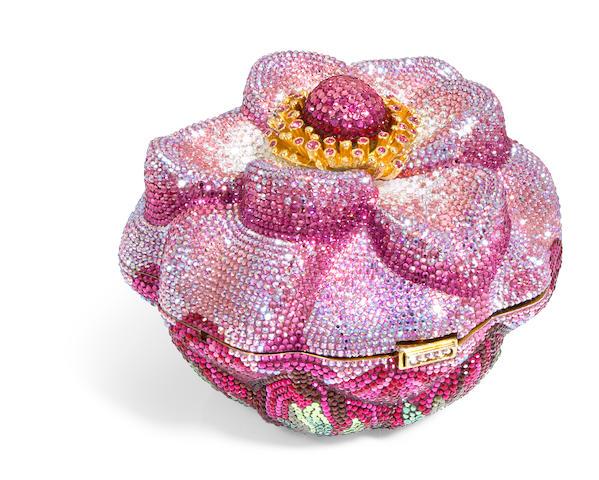 "A pink crystal floral bud ""Windflower"" minaudiere,"