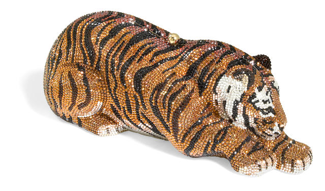 A crystal Da Yun tiger minaudiere,