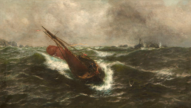Thomas Rose Miles (British, active 1869-1906) To leeward of the Longships Reef 24 1/2 x 42 1/2in