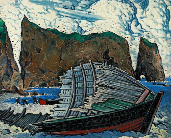 Marc-Aurèle Fortin, A.R.C.A (Canadian, 1888-1970) Barque à Percé