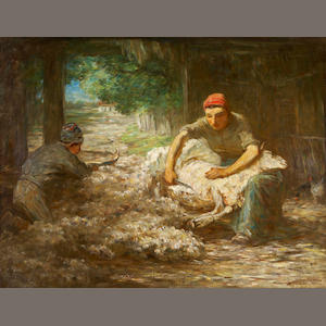 Horatio Walker, RCA,AWCS,RI,RSC,SAA (Canadian, 1858-1938) Sheep Shearing